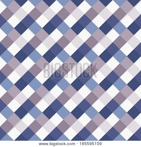 Seamless geometric checked pattern. Diagonal square, woven line background. Rhombus, patchwork texture. Blue, gray, white pastel colored. Vector