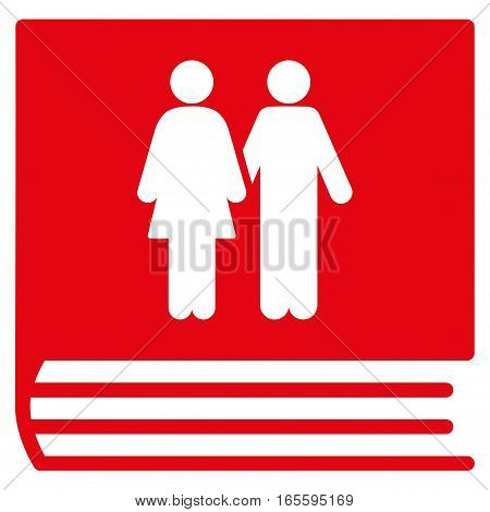 Family Album vector icon. Flat red symbol. Pictogram is isolated on a white background. Designed for web and software interfaces.