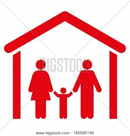 Family Cabin vector icon. Flat red symbol. Pictogram is isolated on a white background. Designed for web and software interfaces.