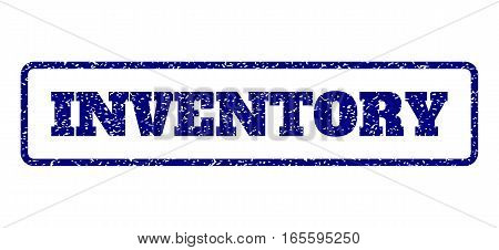 Navy Blue rubber seal stamp with Inventory text. Vector message inside rounded rectangular frame. Grunge design and dust texture for watermark labels. Horisontal emblem on a white background.