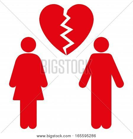 Family Divorce vector icon. Flat red symbol. Pictogram is isolated on a white background. Designed for web and software interfaces.