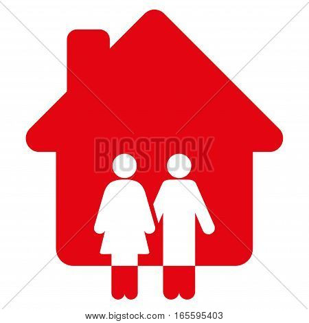 Family House vector icon. Flat red symbol. Pictogram is isolated on a white background. Designed for web and software interfaces.