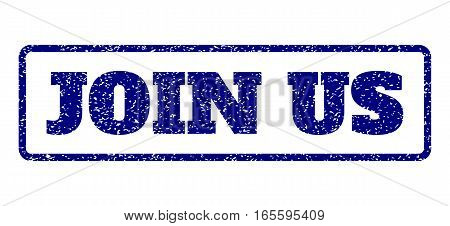 Navy Blue rubber seal stamp with Join Us text. Vector tag inside rounded rectangular banner. Grunge design and dust texture for watermark labels. Horisontal sticker on a white background.