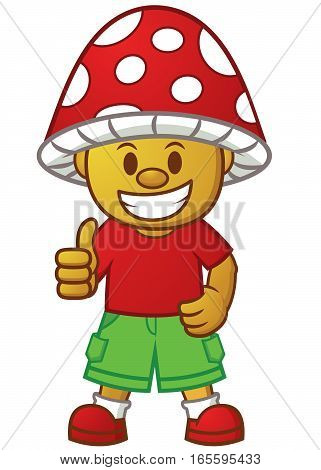 Mushroom Boy Thumb Up Cartoon Character. Vector Illustration Isolated on White Background.