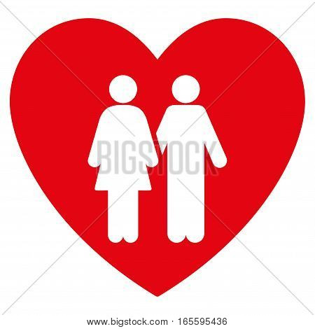 Family Love Heart vector icon. Flat red symbol. Pictogram is isolated on a white background. Designed for web and software interfaces.