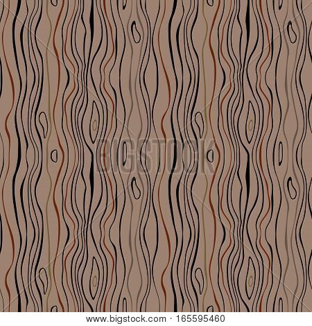 Seamless striped nature pattern. Vertical narrow wavy lines. Bark, branches of trees, tropical forest theme texture. Brown, gray colored background. Vector