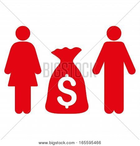 Family Money Deposit vector icon. Flat red symbol. Pictogram is isolated on a white background. Designed for web and software interfaces.