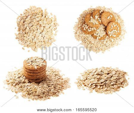 collection of oatmeal cookies and grain on a white background