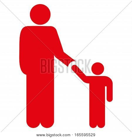 Father Child vector icon. Flat red symbol. Pictogram is isolated on a white background. Designed for web and software interfaces.