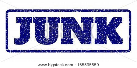 Navy Blue rubber seal stamp with Junk text. Vector message inside rounded rectangular shape. Grunge design and unclean texture for watermark labels. Horisontal sign on a white background.