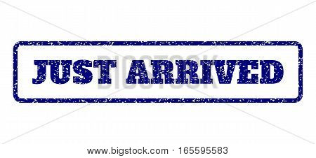 Navy Blue rubber seal stamp with Just Arrived text. Vector caption inside rounded rectangular shape. Grunge design and scratched texture for watermark labels. Horisontal emblem on a white background.