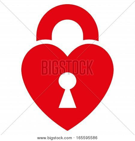 Heart Lock vector icon. Flat red symbol. Pictogram is isolated on a white background. Designed for web and software interfaces.