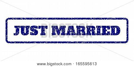 Navy Blue rubber seal stamp with Just Married text. Vector tag inside rounded rectangular frame. Grunge design and scratched texture for watermark labels. Horisontal sticker on a white background.