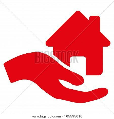 Home Offer Hand vector icon. Flat red symbol. Pictogram is isolated on a white background. Designed for web and software interfaces.