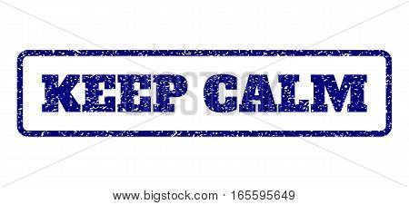 Navy Blue rubber seal stamp with Keep Calm text. Vector caption inside rounded rectangular frame. Grunge design and scratched texture for watermark labels. Horisontal sign on a white background.