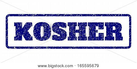 Navy Blue rubber seal stamp with Kosher text. Vector tag inside rounded rectangular banner. Grunge design and dirty texture for watermark labels. Horisontal sign on a white background.