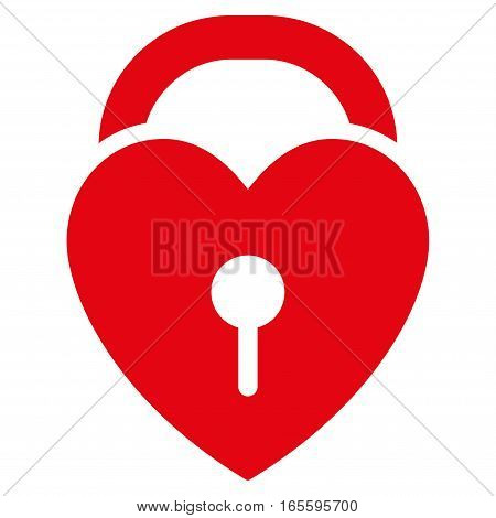 Love Heart Lock vector icon. Flat red symbol. Pictogram is isolated on a white background. Designed for web and software interfaces.