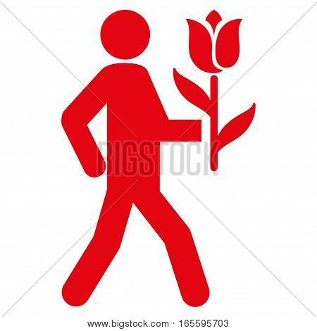 Lover With Flower vector icon. Flat red symbol. Pictogram is isolated on a white background. Designed for web and software interfaces.
