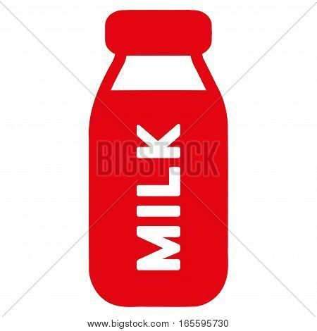 Milk Bottle vector icon. Flat red symbol. Pictogram is isolated on a white background. Designed for web and software interfaces.