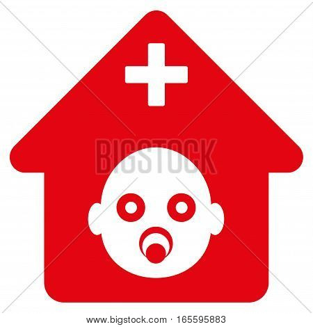 Prenatal Hospital vector icon. Flat red symbol. Pictogram is isolated on a white background. Designed for web and software interfaces.