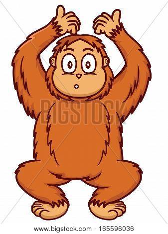 Orangutan Cartoon Animal Character. Vector Illustration Isolated on White.