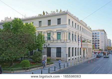 ATHENS GREECE - MAY 04: City Hall in Athens on MAY 04 2015. Athens City Hall Administration Building in Athinas Street and Kotzia Square in Athens Greece.