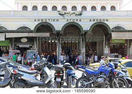 ATHENS GREECE - MAY 05: Central Market in Athens on MAY 05 2015. The Dimotiki Agora Fish and Meat Market in Athens Greece.