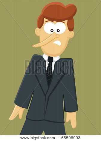 Pinocchio Businessman with Long Nose Cartoon Character. Vector Illustration.
