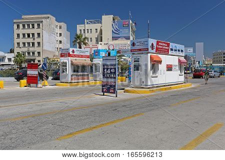 PIRAEUS GREECE - MAY 04: Tool Kiosk For Ferries in Piraeus on MAY 04 2015. Ticket Office Booth For Ferry Boats in Biggest Greek Seaport in Piraeus Greece.