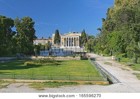 ATHENS GREECE - MAY 04: Zappeion Hall in the National Gardens in Athens on MAY 04 2015. Zappeion Neoclassical Building Conference and Exhibition Center in Athens Greece.