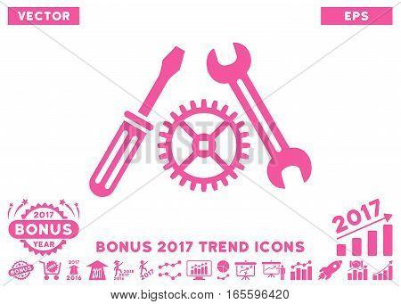 Pink Tuning Service icon with bonus 2017 trend icon set. Vector illustration style is flat iconic symbols white background.