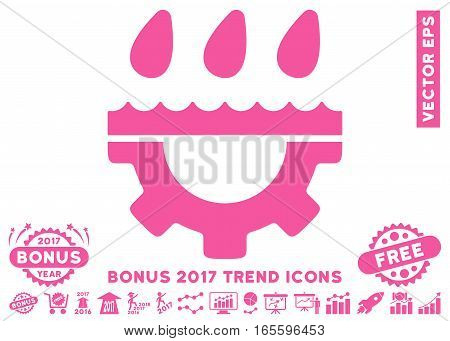 Pink Water Gear Drops pictograph with bonus 2017 year trend pictograph collection. Vector illustration style is flat iconic symbols, white background.