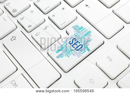 Seo business search engine optimization concept cloud in enter button or key on white keyboard