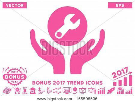 Pink Wrench Maintenance icon with bonus 2017 year trend pictures. Vector illustration style is flat iconic symbols, white background.