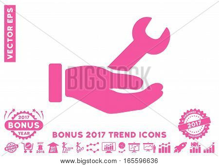 Pink Wrench Service Hand pictograph with bonus 2017 trend pictures. Vector illustration style is flat iconic symbols, white background.