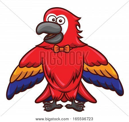 Red Macaw with Bow Tie Cartoon Isolated on White