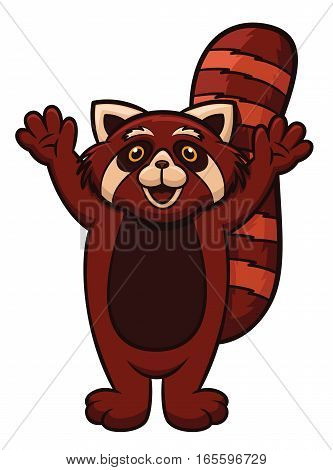 Red Panda Cartoon Animal Character Isolated on White
