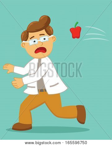 Scared Doctor Being Thrown with Apple Cartoon Illustration