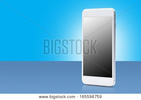 smart phone with blank screen on blue background