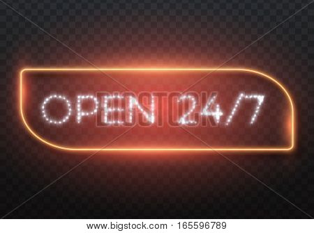 Illustration of Vector Retro Neon Sign. Open 24 Hours Glowing Neon Frame. 24 7 Realistic Neon Sign