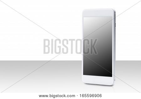 smart phone with blank screen on white background