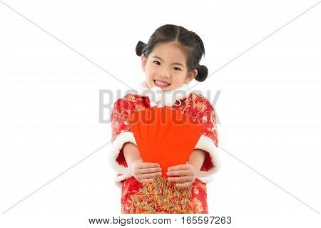 Little Girl Holding Red Envelopes For Lucky