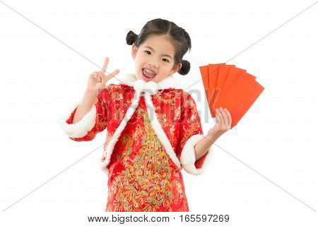 Girl With Success Victory Hand Gesture