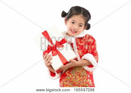 Girl Excited  Happy Red Gift Box