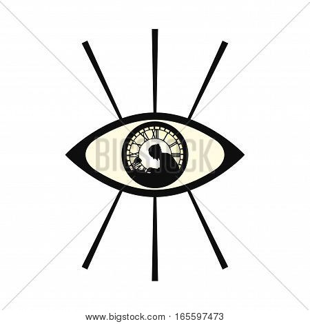 Mysterious Eye with Man Silhouette Vector Illustration