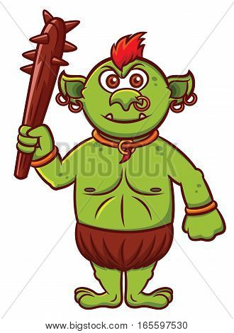 Troll with Club Weapon Cartoon Character Isolated on White