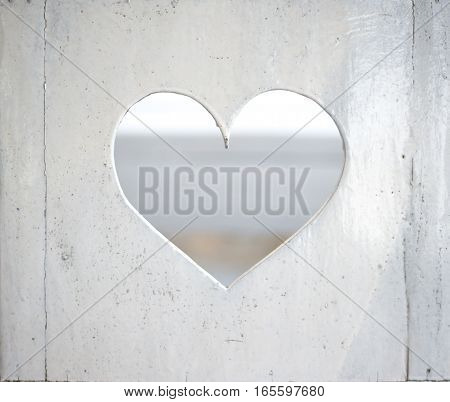 White heart on a white background. Valentine's heart
