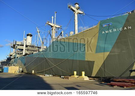 Tampa, Florida - Usa - January 07, 2016: Tampa - World War Ii Victory Ship