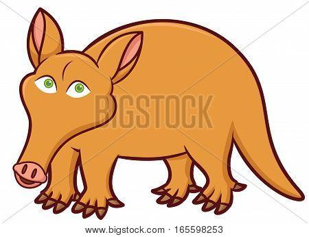 Aardvark Cartoon Animal Character Isolated on White