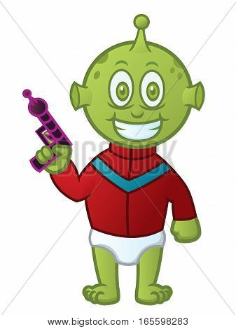 Baby Alien with Gun Cartoon Character. Vector Illustratioin Isolated on White Background.